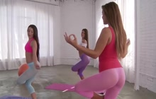Keisha Gray and girls doing yoga
