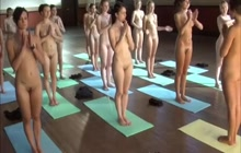 Group of ladies doing naked yoga