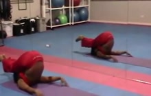 Ebony doing yoga and working out