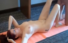 Redhead mature woman fucked after yoga